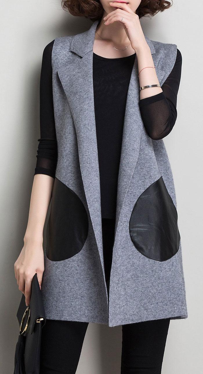 Lushijiao Big Pocket Knitted Waistcoat