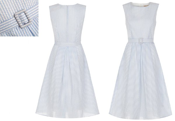 White and Blue Stripe Vintage Dress