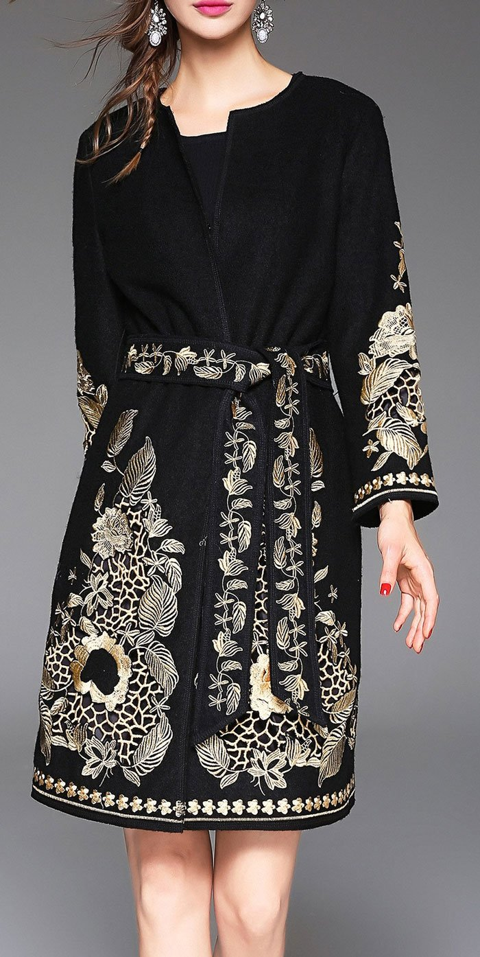 Blueoxy Embroidered Wool Wrap Coat