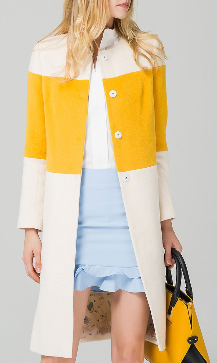 Eavnos Wool Blend Color Block Coat