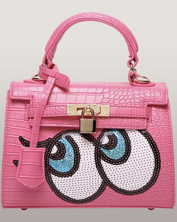 The Essential Grace Faux Croc Leather Bag With Eyes Pink