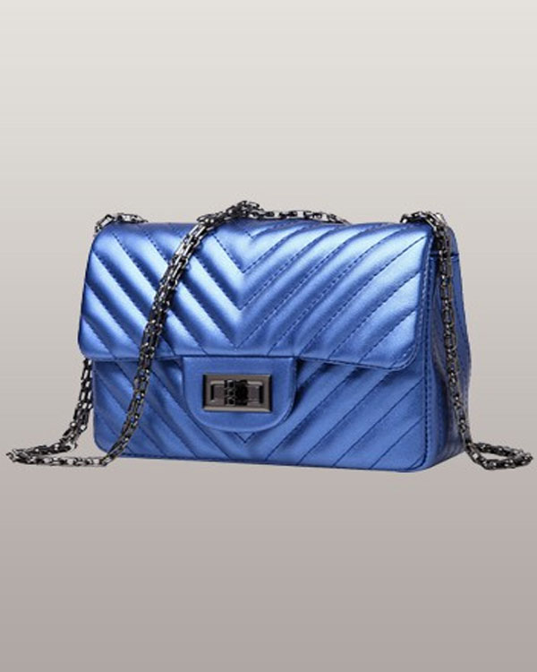 Adele Flap Mini V Shape Blue Bag