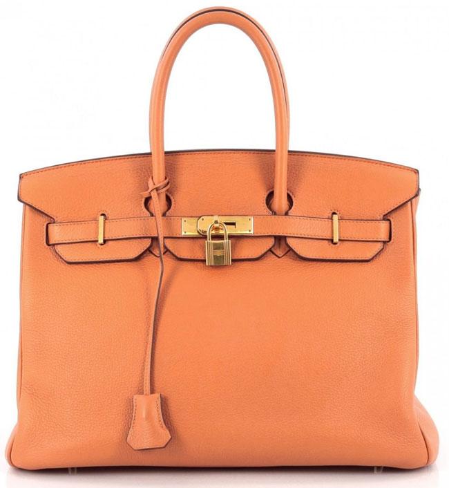 Hermes Birkin Handbag Orange Clemence