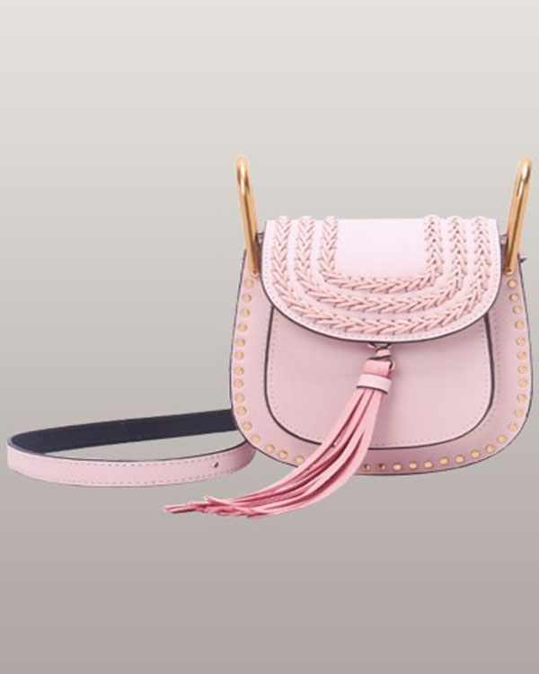 Jessenia Pink Small Whipstitched Leather Shoulder Bag