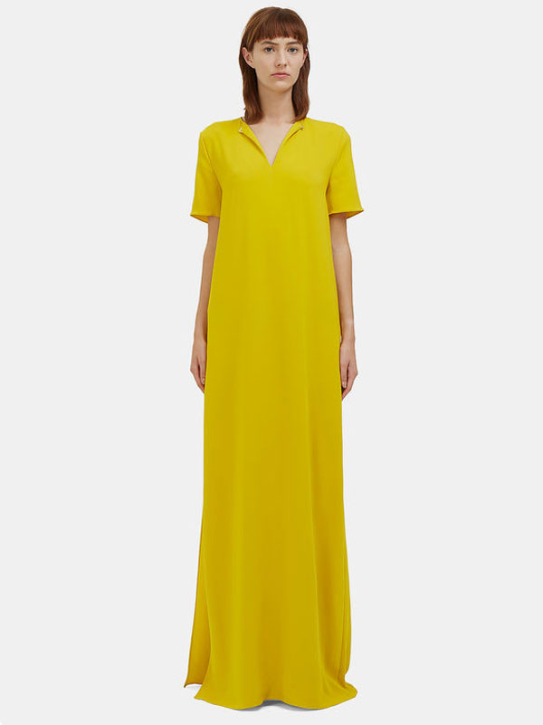 women's long oversized yellow t-shirt dress