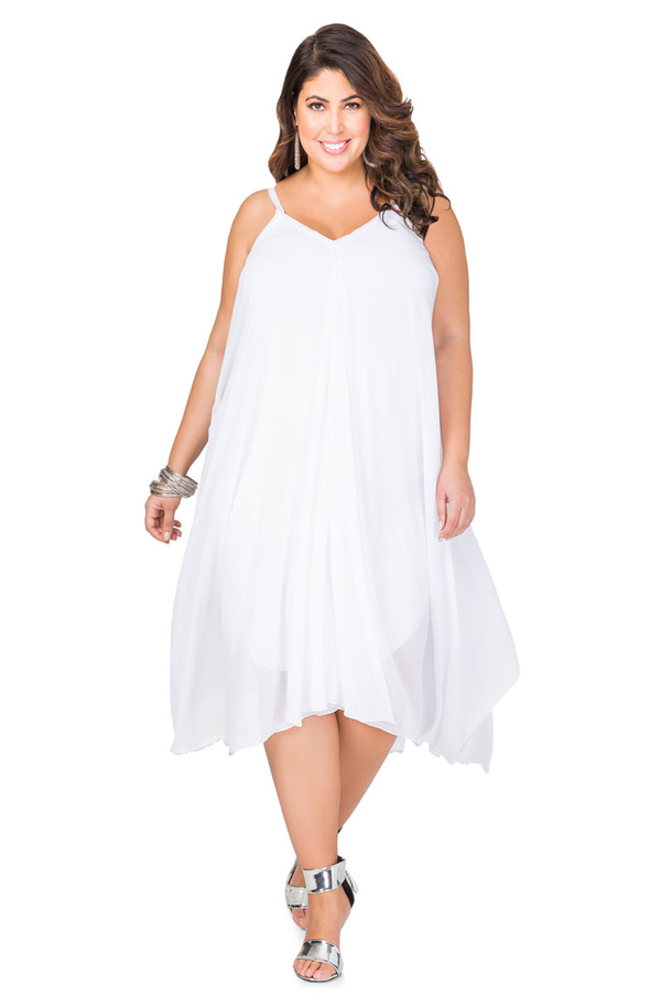plus size flowy white dress
