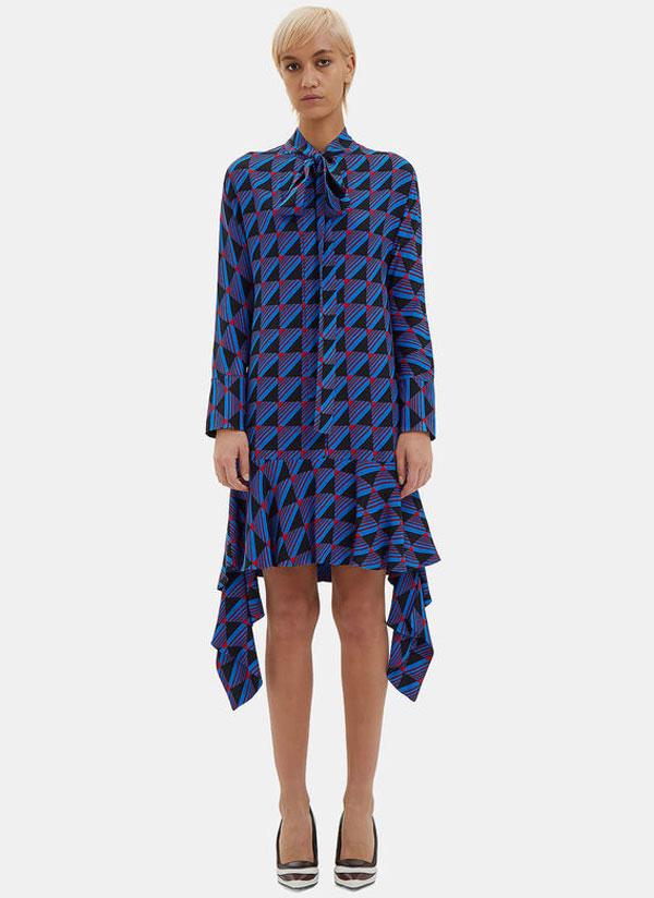 pussybow frilled jacquard women blue dress