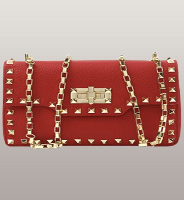 Rockstar Studs Leather Shoulder Red Bag