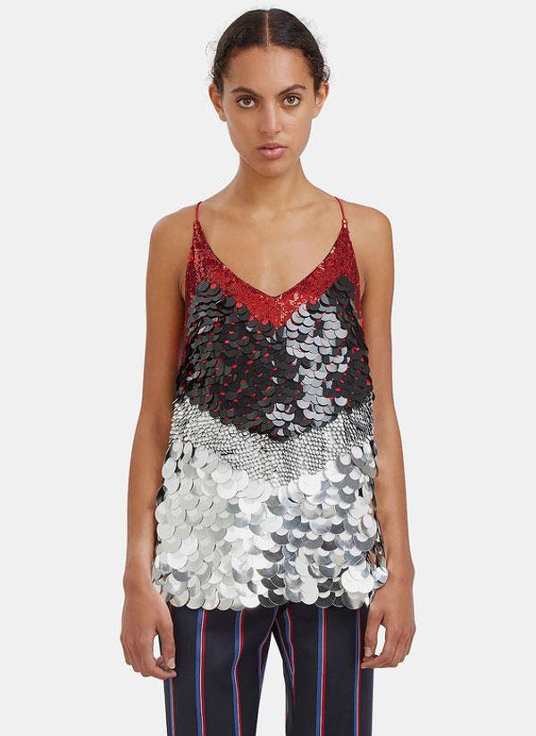 women's greer sequinned metallic paillette top