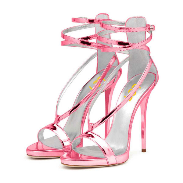 Strappy Chloe Pink Ankle Pencil heels