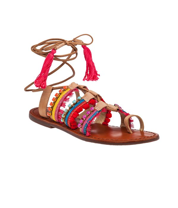 jildor embellished lace-up flat gladiator sandals