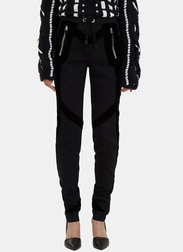 women's velvet taped slim leg black pants