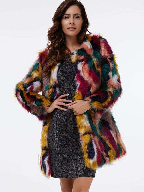 Colorful Fur Mid-Length Overcoat For Winter
