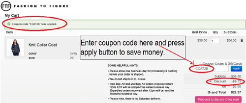 Promotional Codes For Fashion To Figure To Figure coupon codes