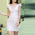 Glamorous Deep V-neck Diamond Ethnic Embroidery Pink Charming OL Style Dress