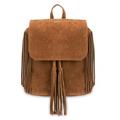 Khaki Fringe Backpack with Foldover Flap