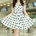 Chic Style Ruffled Polka Dot Print Sleeveless Chiffon Dress For Women