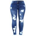 Blue Tassel Ripped Jeans