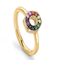 GOLD MULTI SAPPHIRE SCREW RING