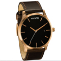 Men Rose Gold/Brown Leather Watch