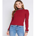 Mock Neck Pullover Long Sleeve Top