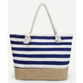 White & Navy Stripes Tote Bag