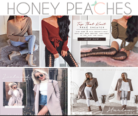 6561b6f5bab6e4 Honey Peaches Coupons