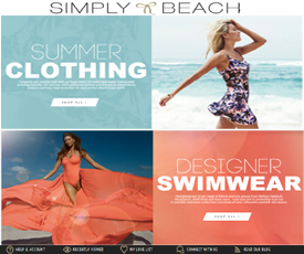 About Simply Beach. Simply Beach gets you ready for a summer at the swimming pool in style. Simply Beach offers bikinis and other swimwear for women of all shapes and sizes. Bathing suits from designers like Speedo, Kiwi St Tropez, and Heidi Klum Swim will have you looking chic on the beach.